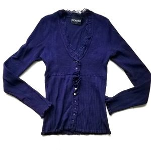 Danish Lace trim dark purple knit sweater cardigan